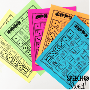 Dice games for articulation therapy! These are also great to use in speech therapy crafts.